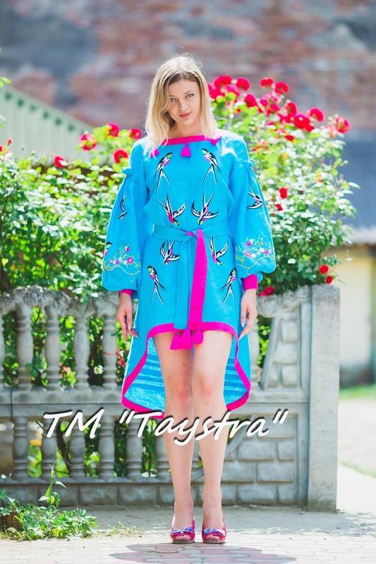 Fashionable stylish dress boho embroidered linen, ethno, style boho chic, Midi Dress, for the wedding, Embroidered dress, Multi Color Embroidery Linen