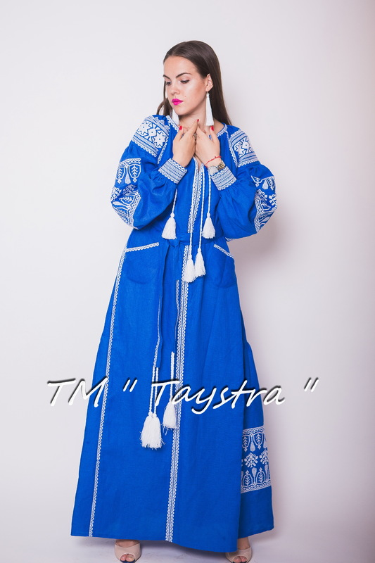 Embroidered Dress Boho, Blue Dress Linen, Maxi Dress, ethno, style boho chic, Bohemian Vyshyvanka Dress Multi Color Embroidery Linen, Ukrainian embroidery