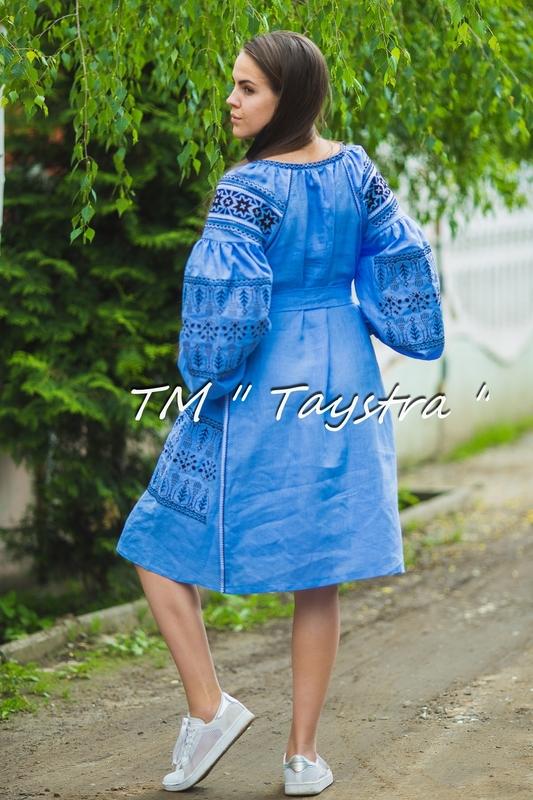 Embroidered Dress Boho, ethno, style boho chic, Bohemian, Vyshyvanka Dress Multi Color Embroidery Linen, Ukrainian embroidery, Blue Dress