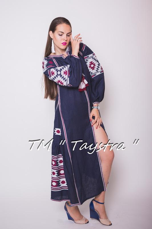 Vyshyvanka Blue Dress Ukrainian embroidery, Boho, ethno, style boho chic, Embroidered dress, Multi Color Embroidery Linen