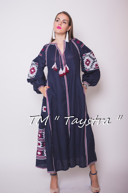 Vyshyvanka Blue Dress Ukrainian embroidery, Boho, ethno, style boho chic, Embroidered dress, Multi Color Embroidery Linen