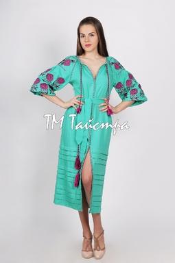 Vyshyvanka, Green Dress, Ukrainian embroidery, Boho, ethno, style boho chic, Embroidered dress, Multi Color Embroidery Linen